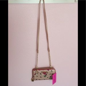 Betsey Johnson Rosebud Wallet w/ Strap